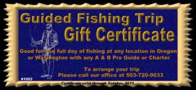 Fishing Trip Gift Certificate Oregon and Washington